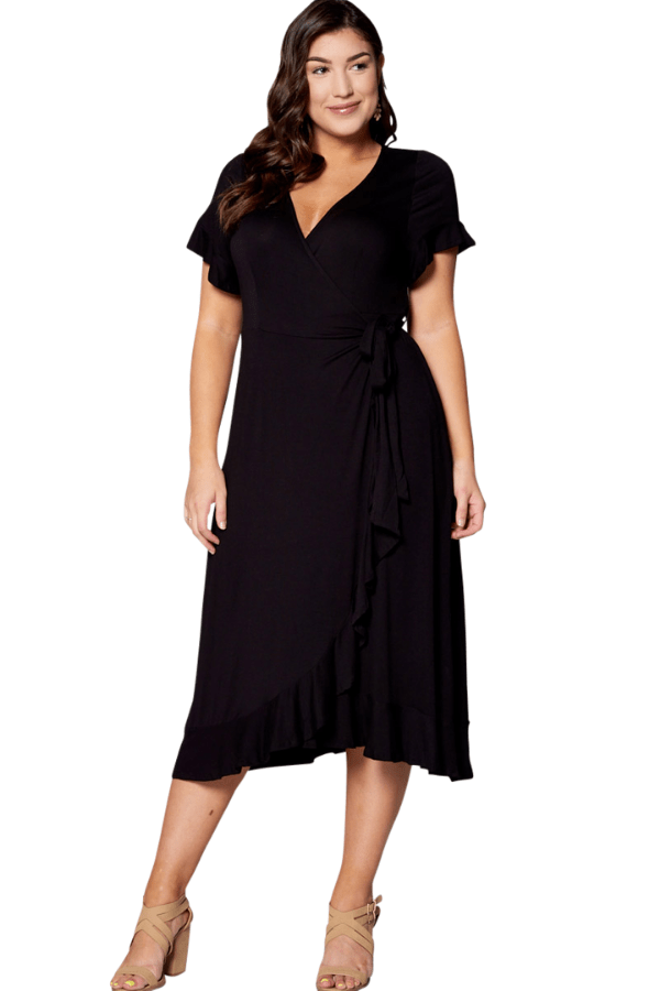 Black Wrap Dress - Curvy Clothes Australia - Afterpay Laybuy & Humm Online