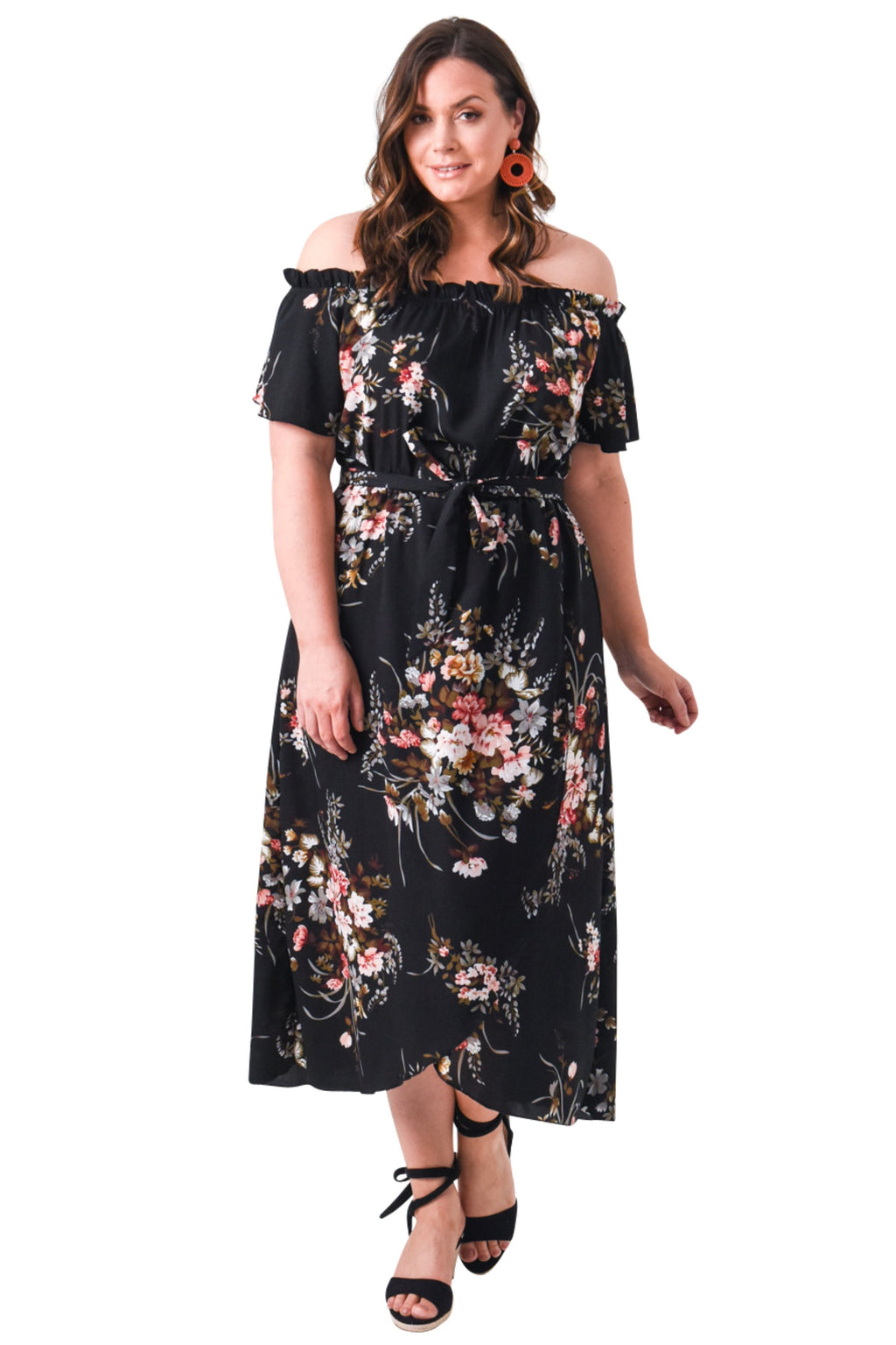 plus size Off Shoulder Dress XL / AUS 14 - 16 / Floral Black Kyra Dress