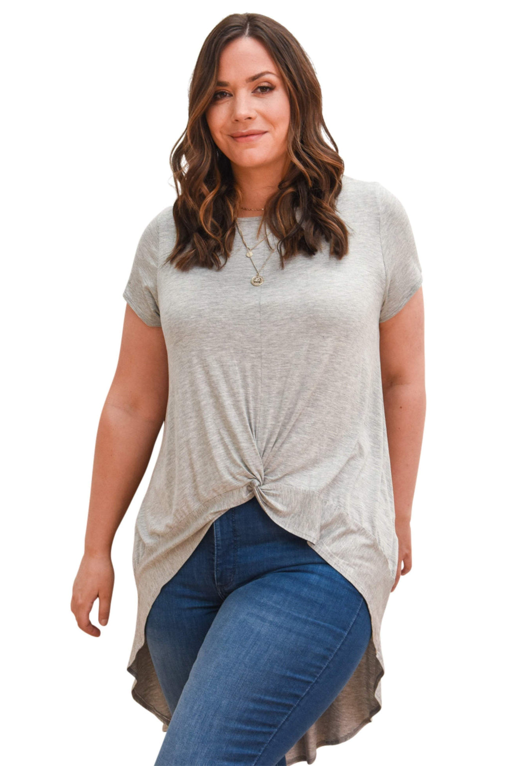 plus size T-Shirt aa. Aubrey Hi-Low Tee - Grey