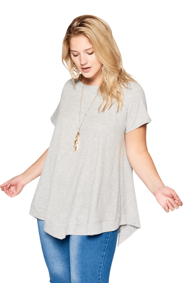 Grey Tee - Curvy Clothes Australia - Afterpay Laybuy & Humm Online