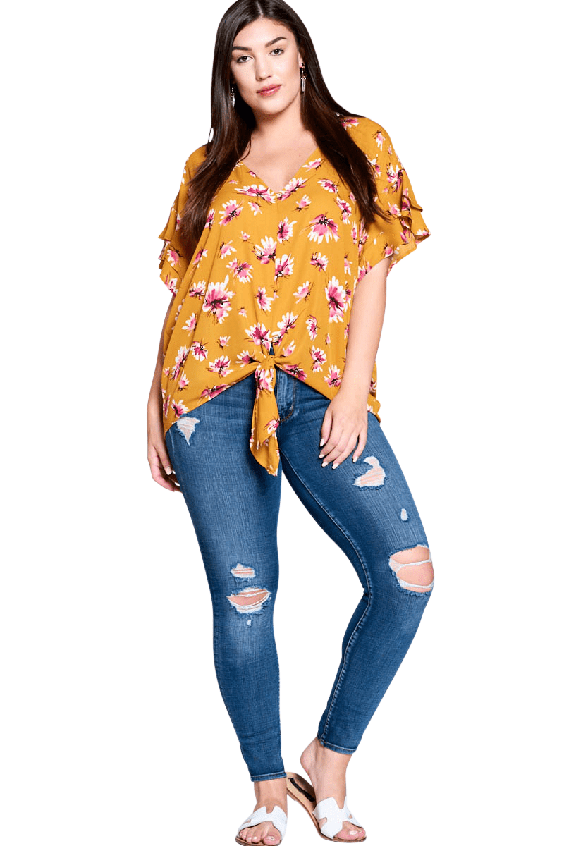 Kadyn Mustard Yellow Curve Top - Curvy Clothes Australia - Afterpay Laybuy & Humm Online