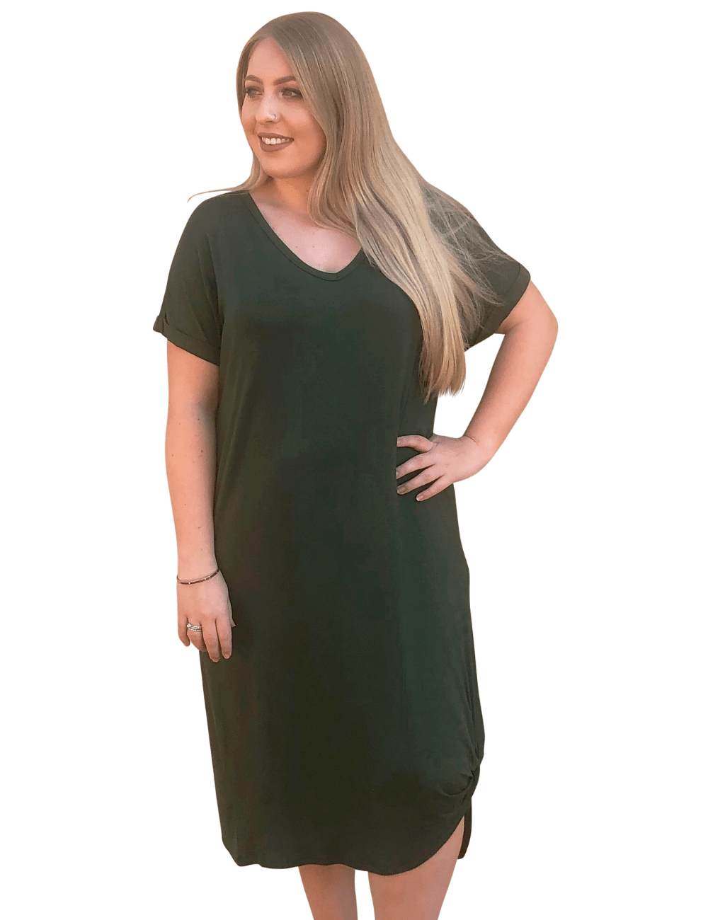 Green T-Shirt Dress - Curvy Clothes Australia - Afterpay Laybuy & Humm Online