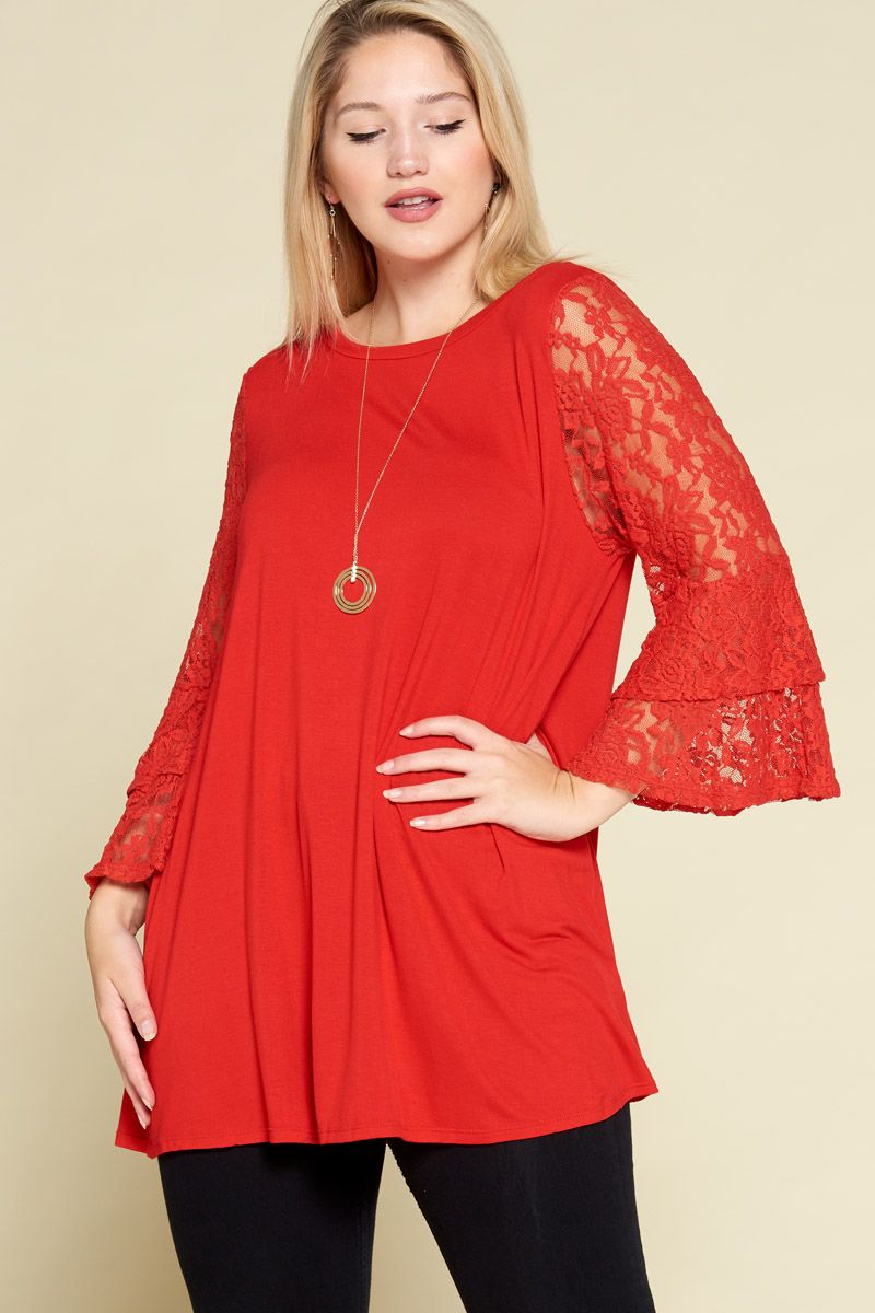 Bell Sleeve Tunic Top Red - Emerald Curve