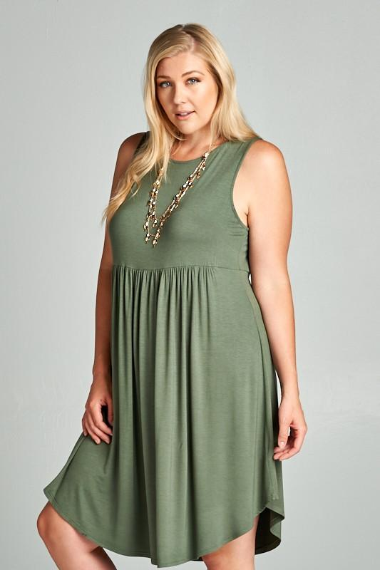 Sleeveless Midi Dress - Olive Green - Emerald Curve