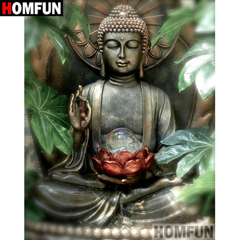 "HOMFUN Full Square/Round Drill 5D DIY Diamond Painting ""Buddha Lotus"" Embroidery Cross Stitch 5D Home Decor Gift A07530"