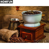 "HOMFUN Full Square/Round Drill 5D DIY Diamond Painting ""Coffee & cup"" 3D Embroidery Cross Stitch 5D Home Decor Gift A01004"