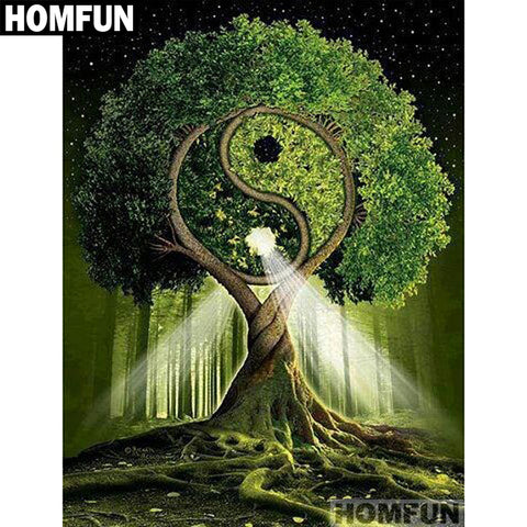 "HOMFUN Full Square/Round Drill 5D DIY Diamond Painting ""Tai Chi Trees"" Embroidery Cross Stitch 5D Home Decor Gift A01134"