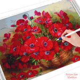 HUACAN 5D DIY Diamond Painting Poppy Flower Full Drill Square Embroidery Picture Home Decoration Handcraft Art Kits