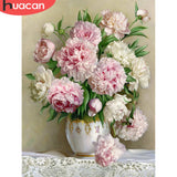 HUACAN DIY 5D Diamond Painting Peony Icon Modern Home Decoration Full Square Diamond Embroidery Flowers wedding Gifts F1308