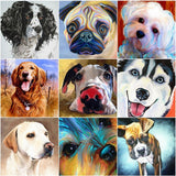 HUACAN Diamond Painting Animal Dog Full Square Diamond Mosaic 5D DIY Embroidery Rhinestone Decor Home Resin Drill Crystal 1