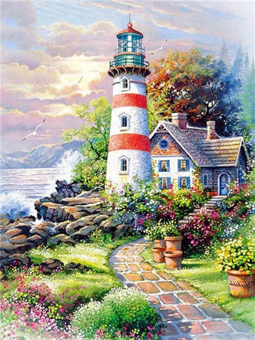 Huacan 5D DIY Diamond Painting Full Square Lighthouse Diamond Embroidery Mosaic Landscape Seaside Decorations Home