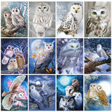 Huacan 5D DIY Diamond Painting Owl Animal Full Square Diamond Embroidery Mosaic Winter Decorations Home