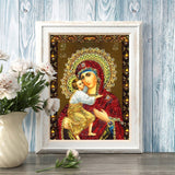 Huacan 5D Diamond Painting Virgin Mary Pictures By Rhinestones Mosaic Religion Icon Full Square Kit Diamond Embroidery