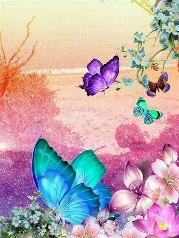 Huacan DIY Diamond Painting Butterfly And Flower 5D Full Square Rhinestone