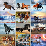 Huacan Diamond Painting Horse Full Square Diamond Embroidery Animals Picture 5D Diy Mosaic Rhinestone Home Decoration