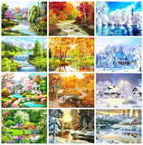 Huacan Full Square&Round Diamond Painting Landscape Spring 5D Diamond Embroidery Mosaic Cross Stitch Winter Home Decor Gift 1