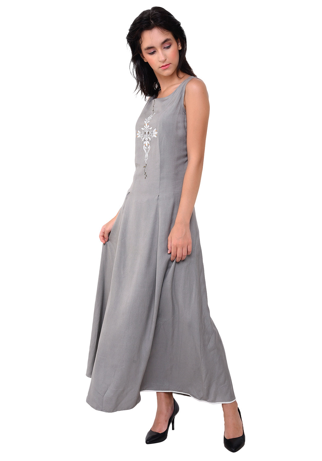 Women's Rayon Embroidred Maxi Dress - Grey