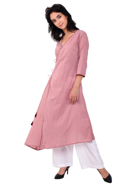 Embroidered Pale Blush Angrakha Kurta Set