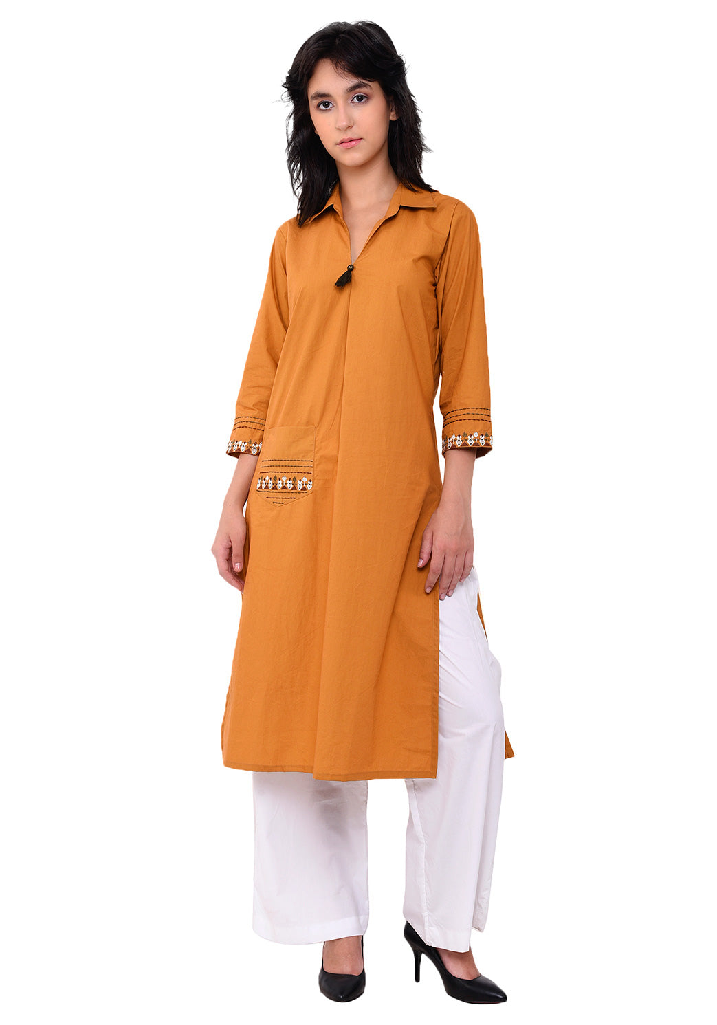Front Patch Pocket Emroidered Kurta - Mustard