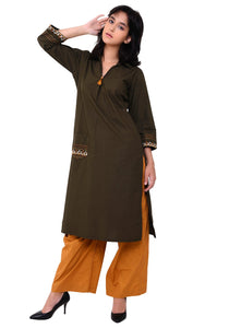 Front Patch Pocket Emroidered Army Green Kurta Set