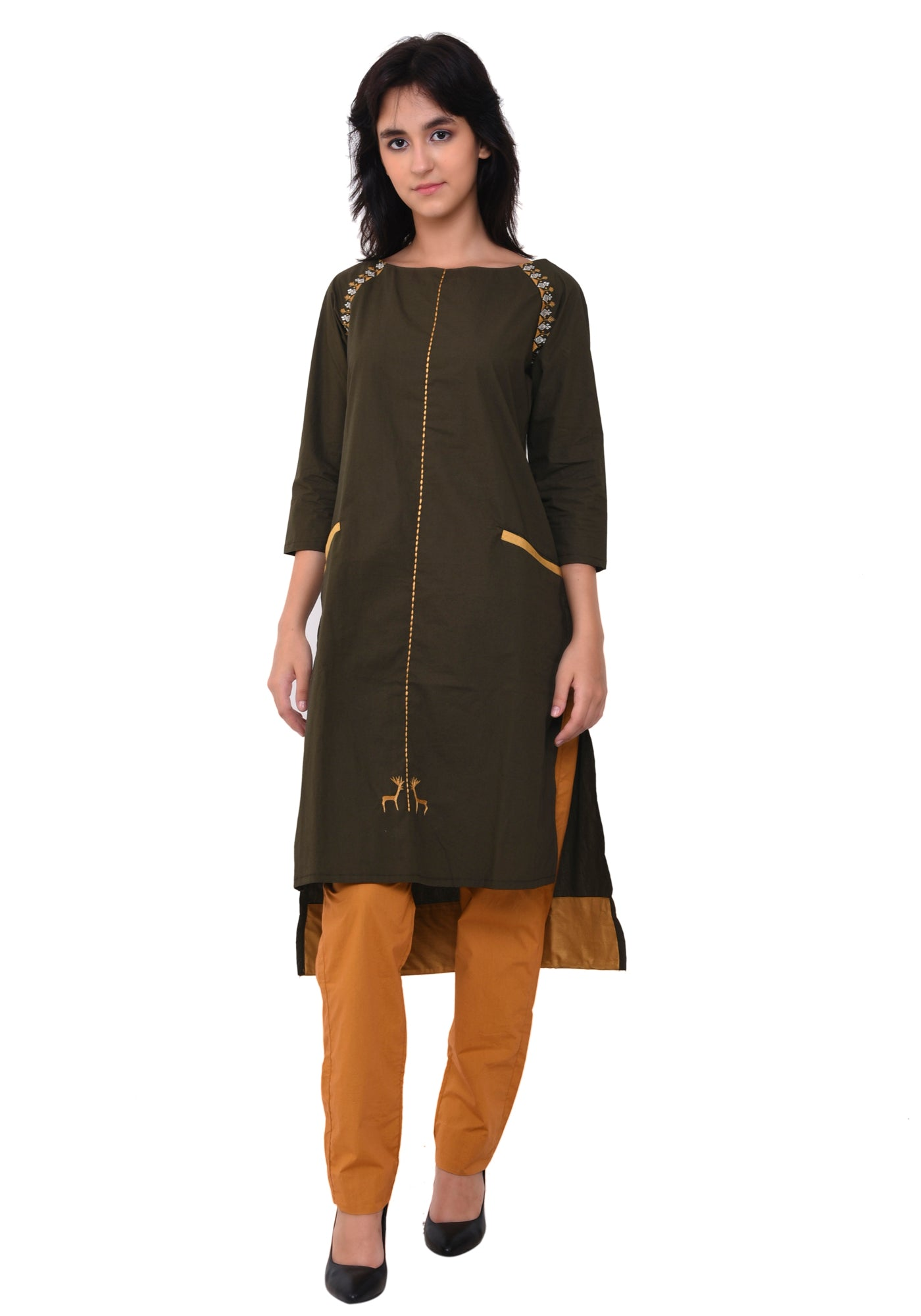 Cotton Emroidred Raglan Sleeve Kurta - Army Green