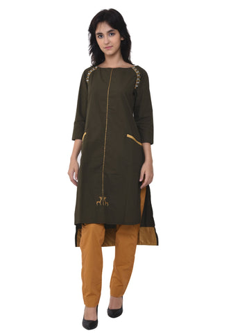 Embroidered Raglan Sleeve Army Green Kurta Set