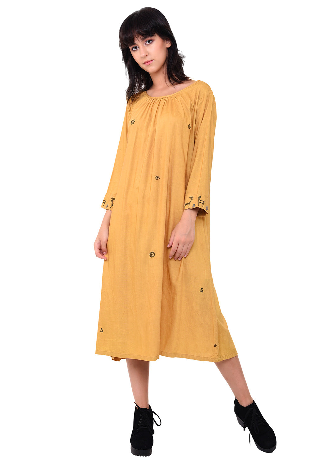Urban Symbol Embroidered Shift dress - Sunflower