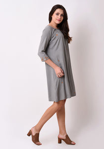 Urban Symbol Embroidered Shift dress - Grey