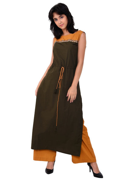 Yoke Embroidered Tie- Up Army Green Kurta Set