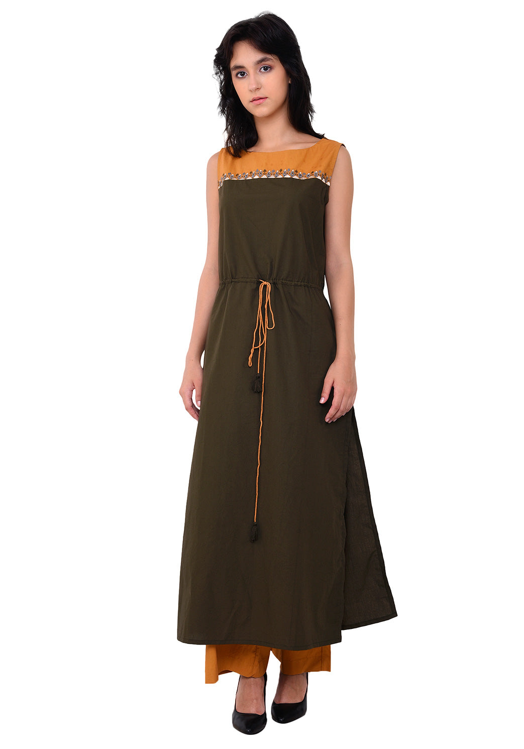Yoke Embroidered Tie- Up Kurta - Army Green