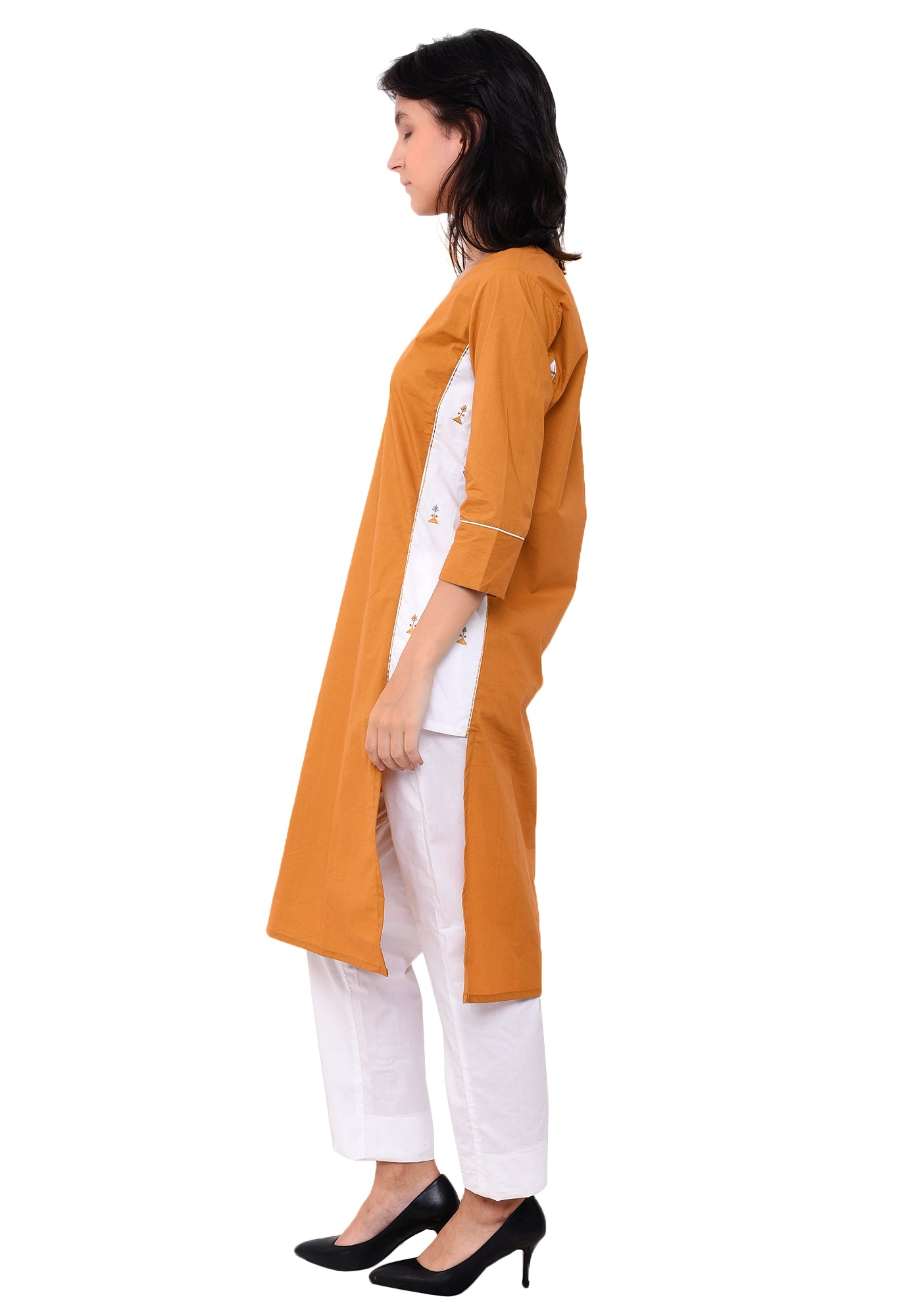 Cotton Embroidered Designer Kurta - Mustard
