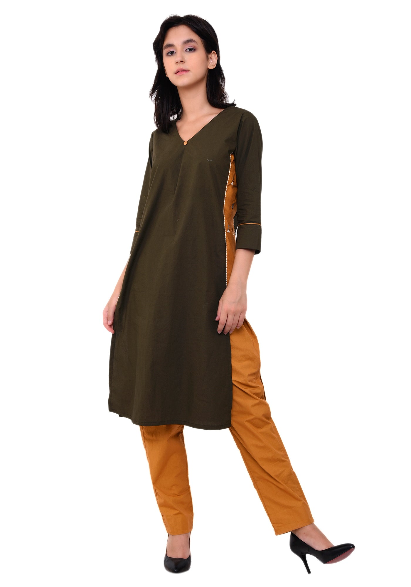 Cotton Embroidered Designer Kurta - Army Green