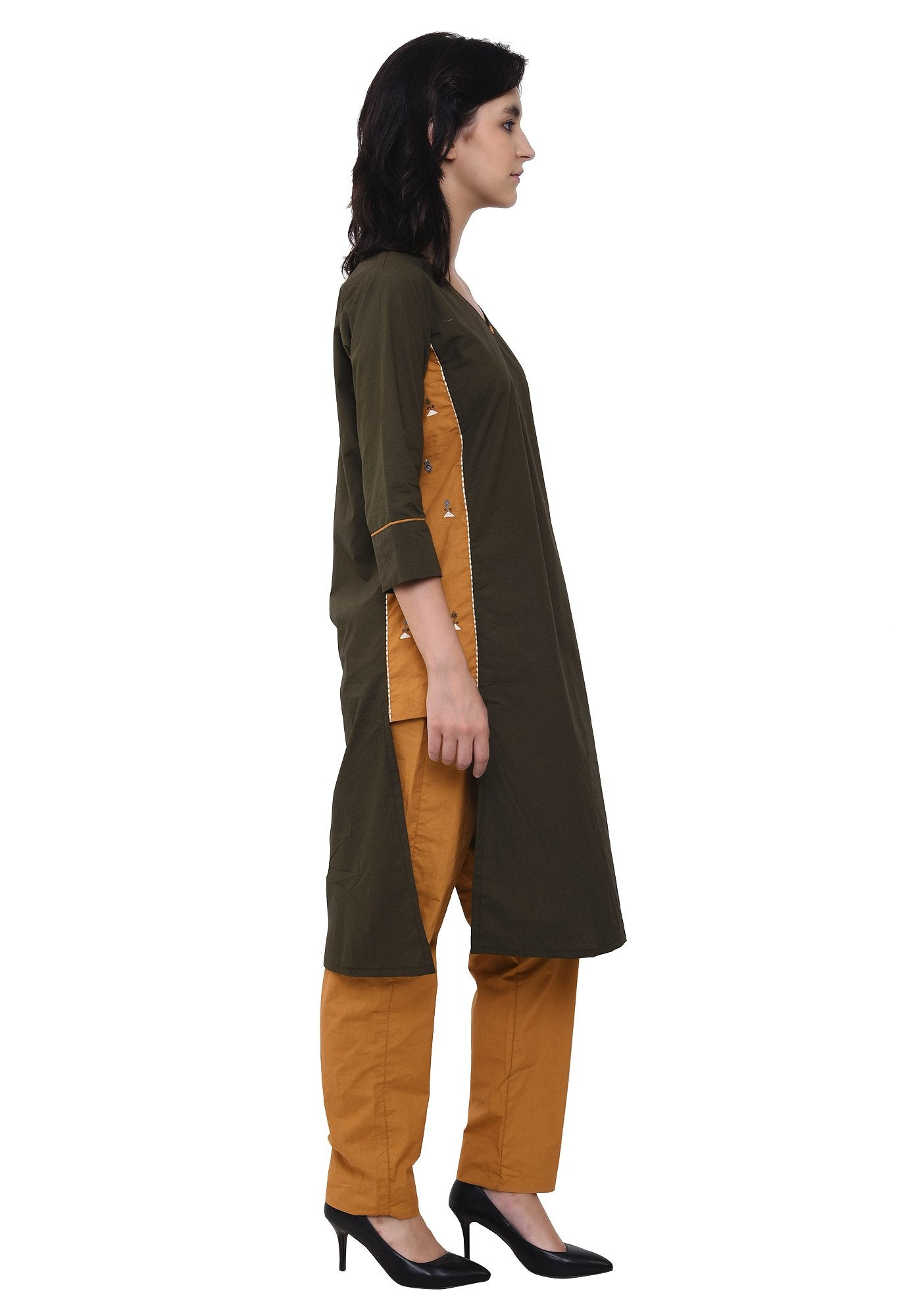Embroidered Designer Army Green Kurta Set