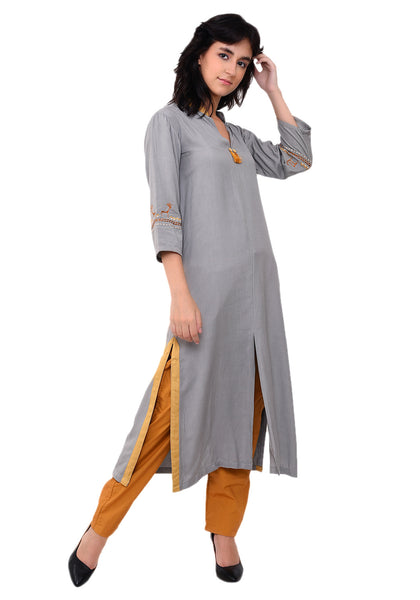 Embroidered Front Slit Kurta - Grey