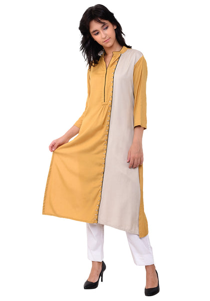 Embroidered Panelled Kurta - Sunflower
