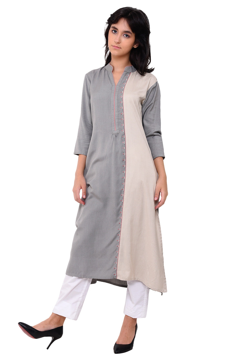 Embroidered Panelled Kurta - Grey