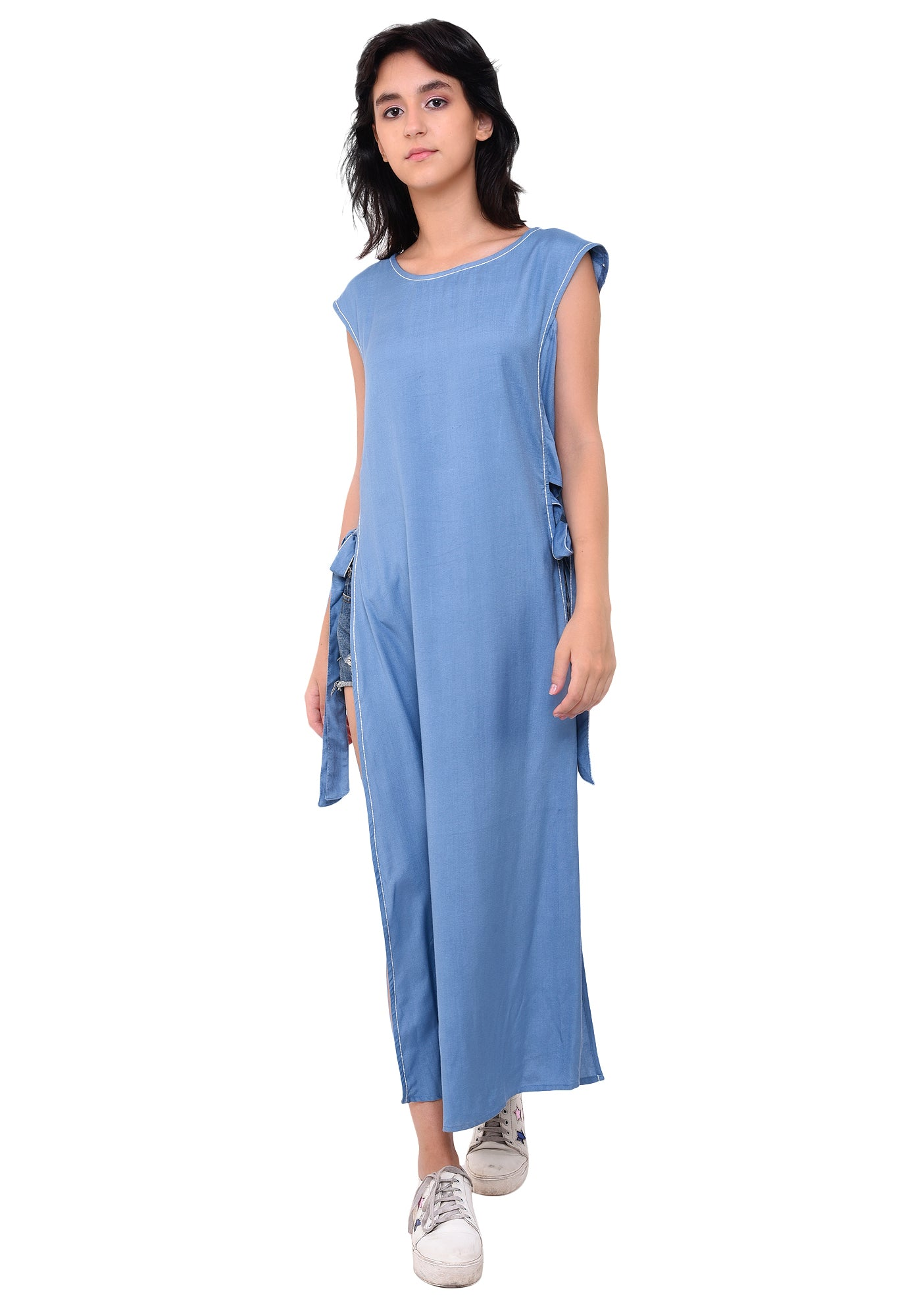 Rayon Side Tie- up Kurta - Faded Denim
