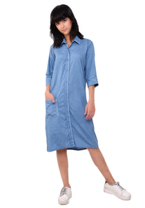 Anchor Thread Detail Shirt Dress - Faded Denim