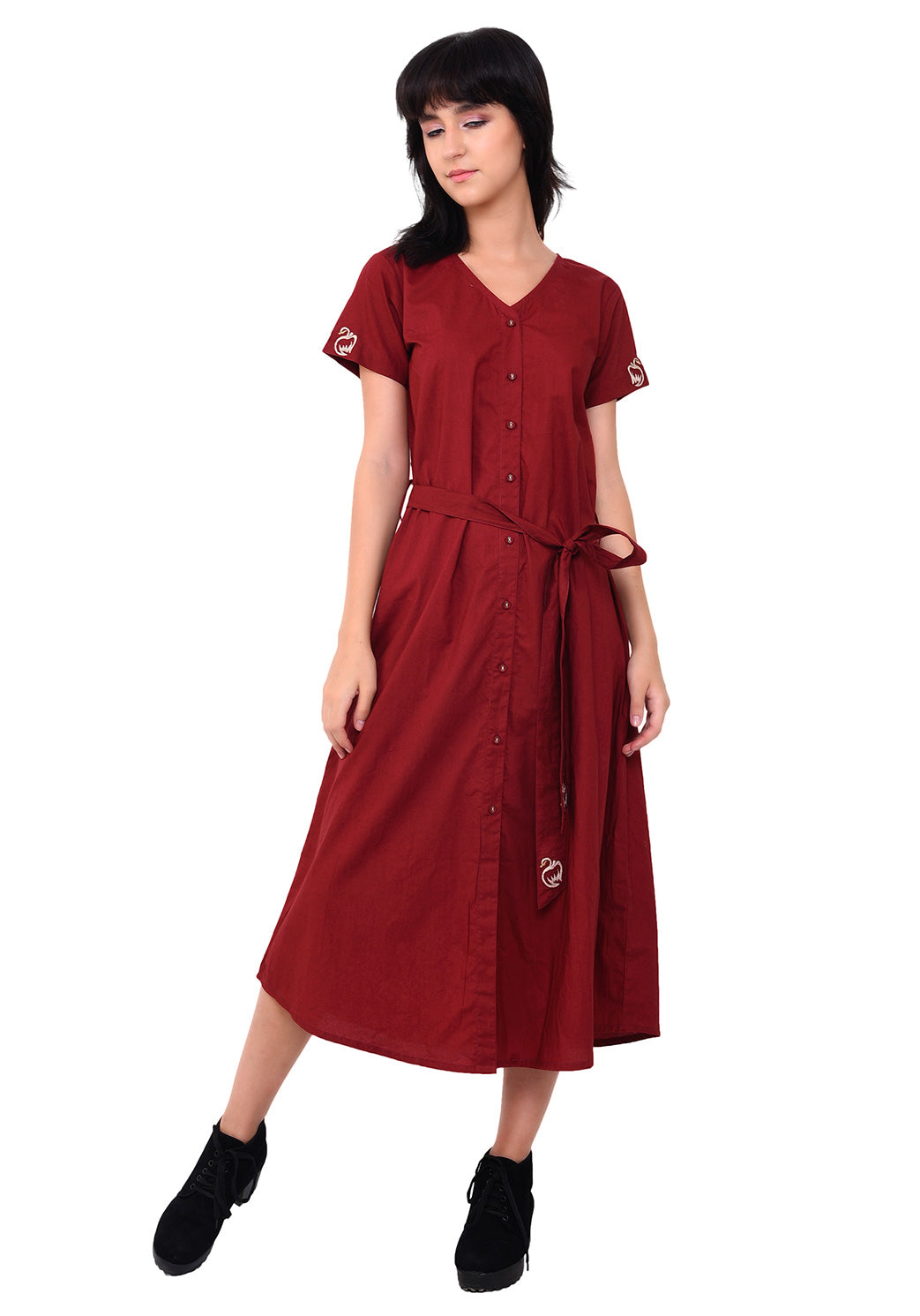 Embroidered V- Neck Button Down Dress - Maroon
