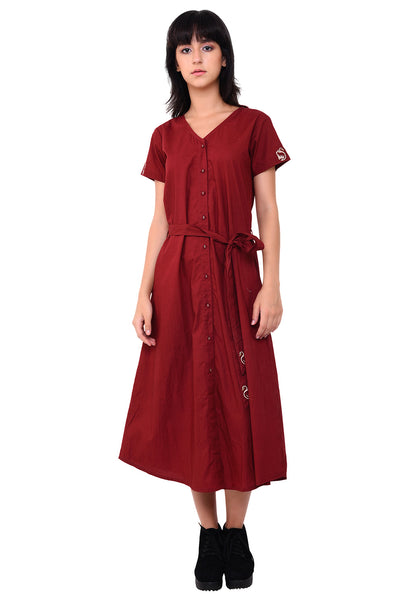 V- Neck Button Down Dress - Maroon