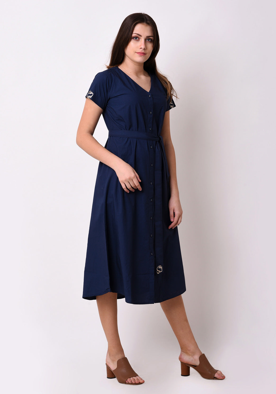 Cotton Embroidred Shirt Dress - Navy Blue