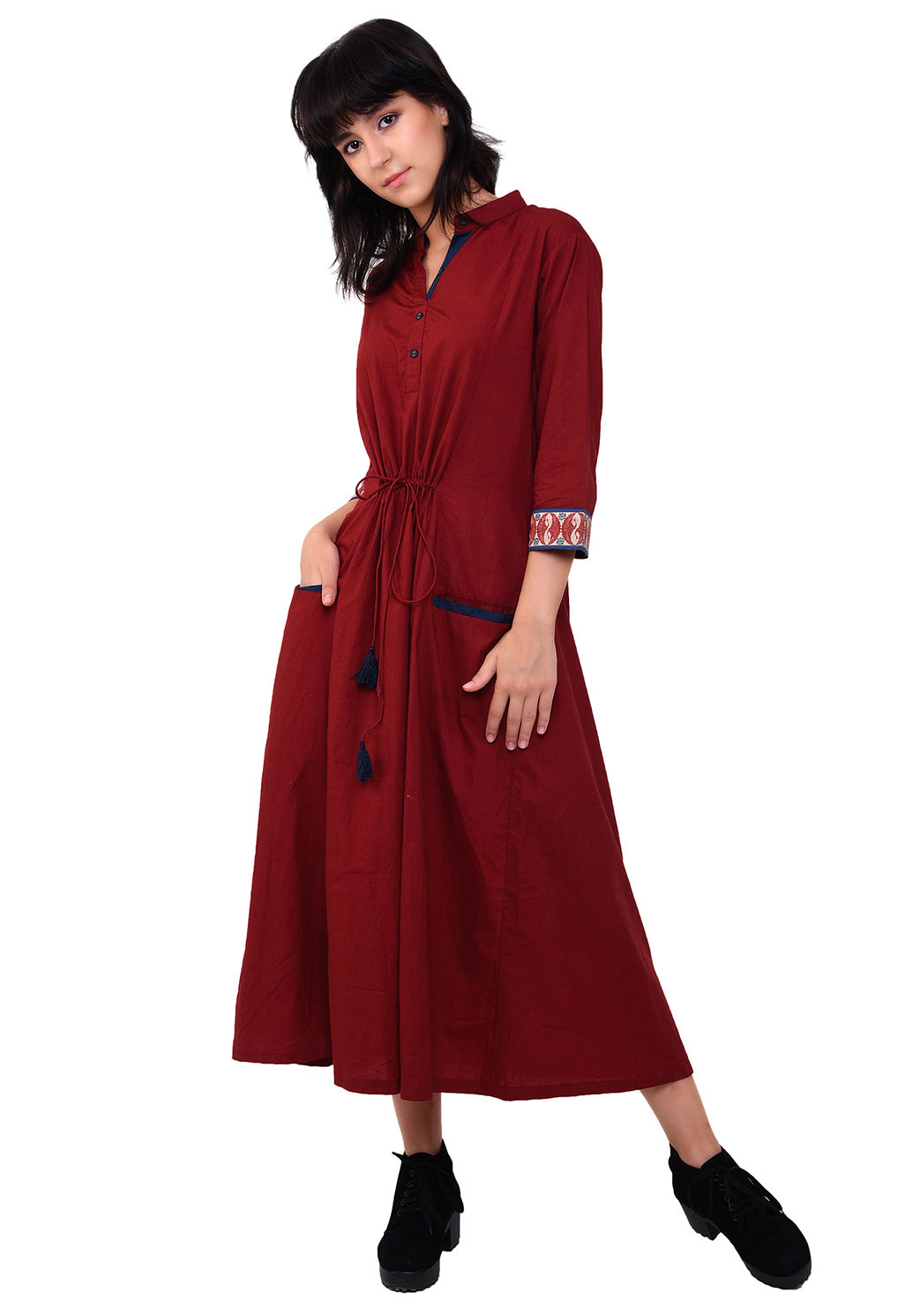 Front Tie-up Welt Pocket Dress - Maroon