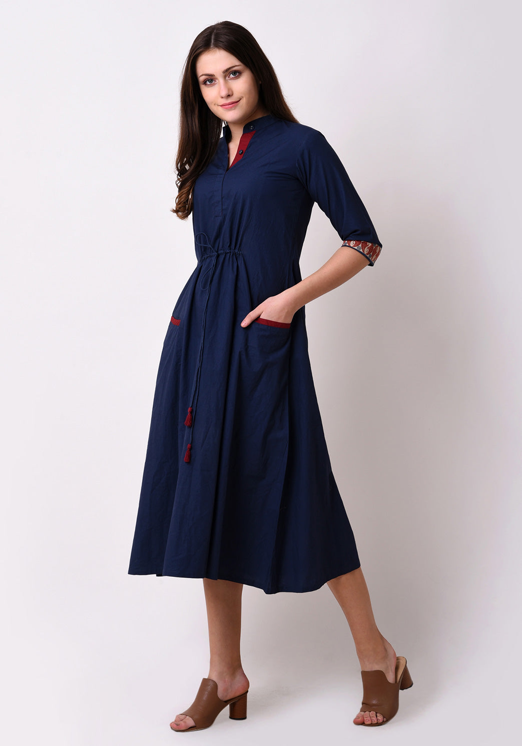 Cotton Front Pocket Dress - Navy Blue