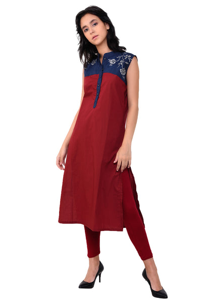 Embroidered Yoke Kurta - Maroon