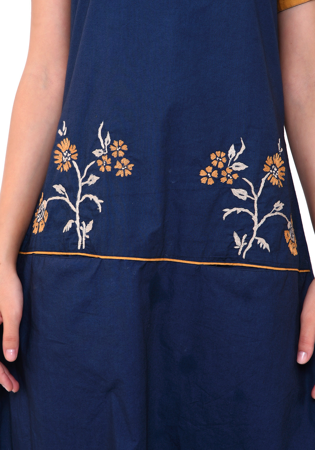 Floral Embroidered Front Pocket Dress - Navy Blue