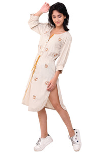 Hans Embroidered Tie- Up Dress - After Glow