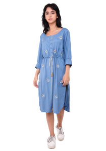 Hans Embroidered Tie- Up Dress - Faded Denim