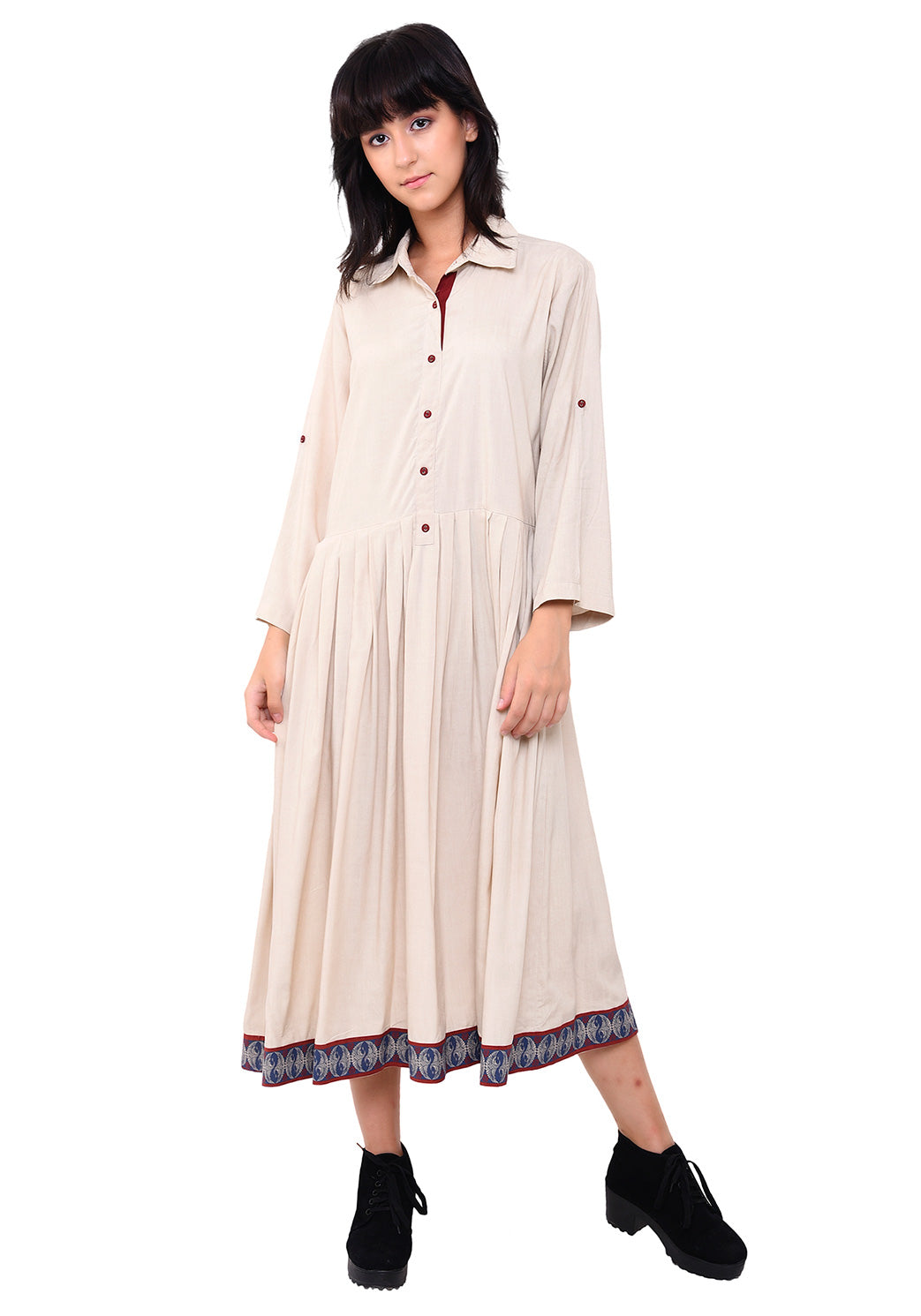 Pleated Semi Shirt Dress - After Glow