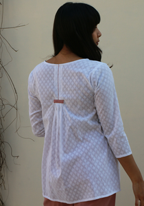 Embroidered Raindrops Summer Call White Top