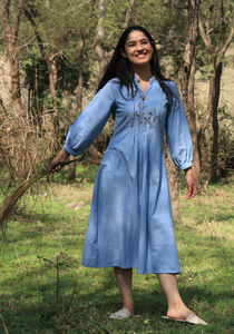 Chambray Wan Blue Lazy Dress